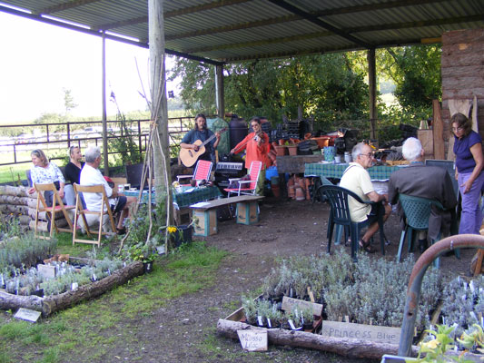 Visitors, volunteers and entertainers at the The Dorset Lavender Farm Project Open Day 2014